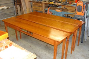 Three matched cherry tables